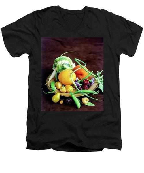 Seasonal Fruit And Vegetables Men's V-Neck T-Shirt by Romulo Yanes