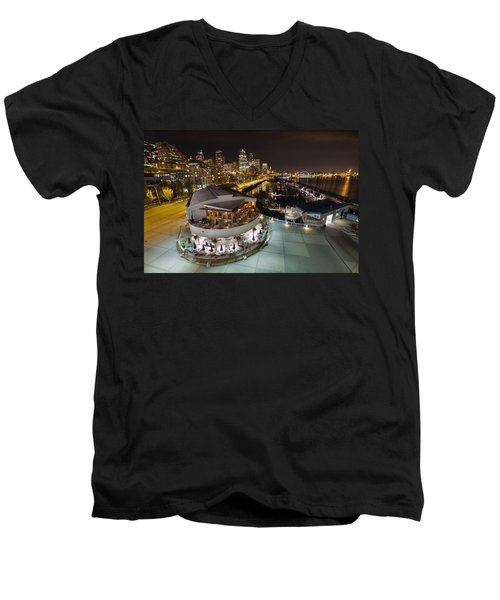 Men's V-Neck T-Shirt featuring the photograph Seattle City Skyline And Marina At Night by JPLDesigns