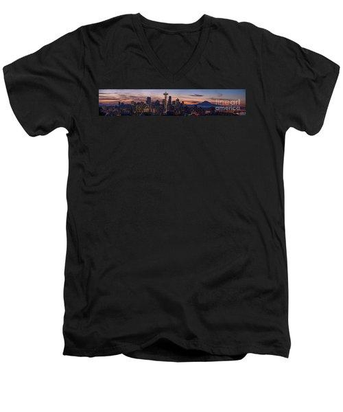 Seattle Cityscape Morning Light Men's V-Neck T-Shirt by Mike Reid