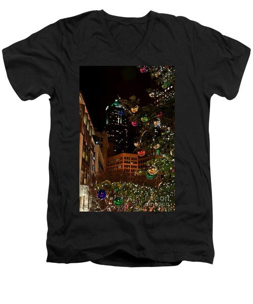 Men's V-Neck T-Shirt featuring the photograph Seattle Downtown Christmas Time Art Prints by Valerie Garner