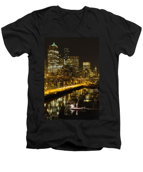 Men's V-Neck T-Shirt featuring the photograph Seattle Downtown Waterfront Skyline At Night by JPLDesigns