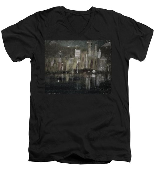 Seattle In The Rain Cityscape Men's V-Neck T-Shirt