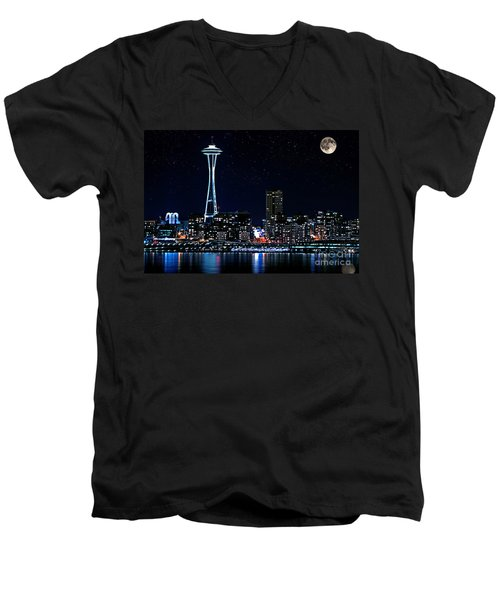 Men's V-Neck T-Shirt featuring the photograph Seattle Skyline At Night With Full Moon by Valerie Garner