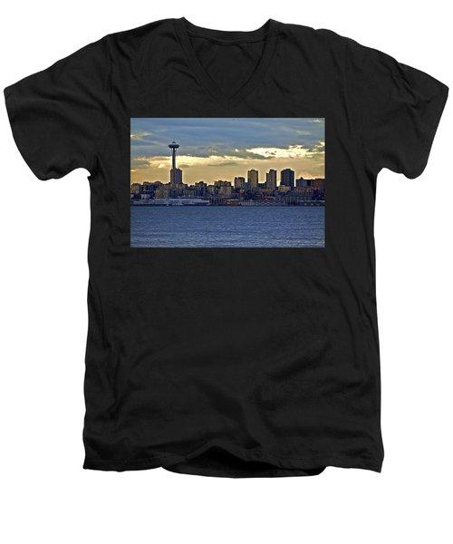 Seattle Skyline In Twilight Men's V-Neck T-Shirt
