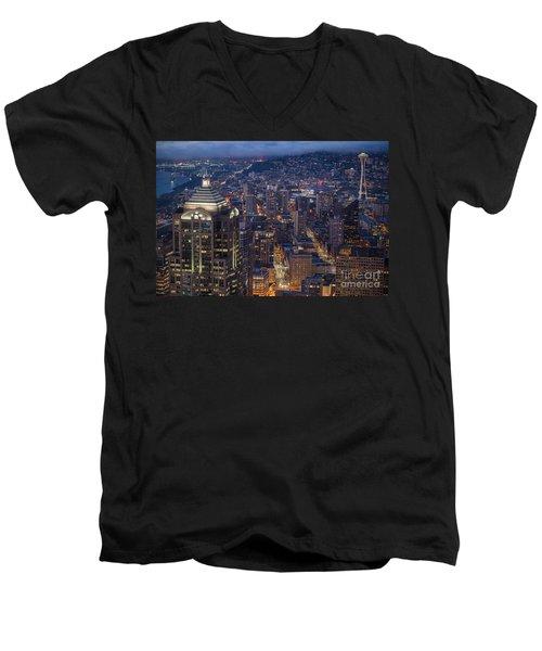 Seattle Urban Details Men's V-Neck T-Shirt by Mike Reid