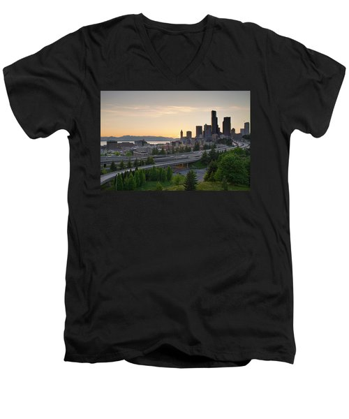 Men's V-Neck T-Shirt featuring the photograph Seattle Washington Downtown City Sunset by JPLDesigns