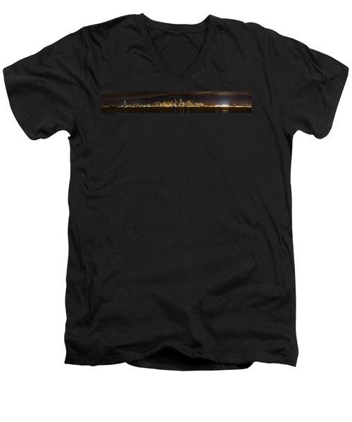 Seattle Waterfront At Night Panoramic Men's V-Neck T-Shirt