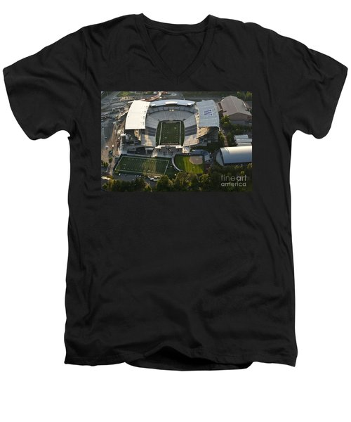 Seattle With Aerial View Of The Newly Renovated Husky Stadium Men's V-Neck T-Shirt