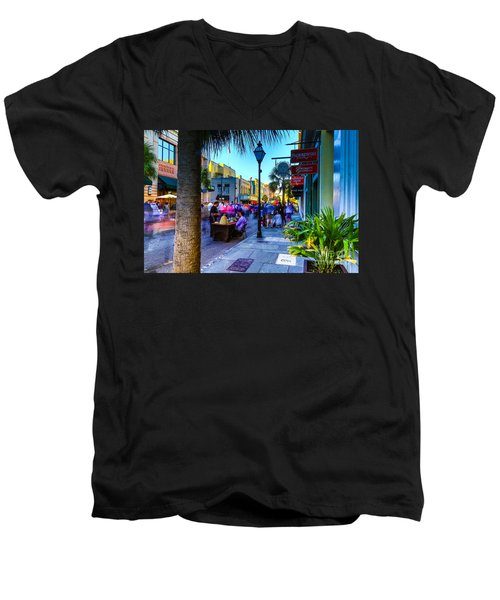 Men's V-Neck T-Shirt featuring the photograph Second Sunday On King St. Charleston Sc by Donnie Whitaker