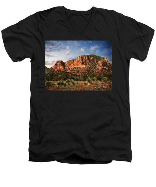 Men's V-Neck T-Shirt featuring the photograph Sedona Vortex  And Yucca by Barbara Chichester