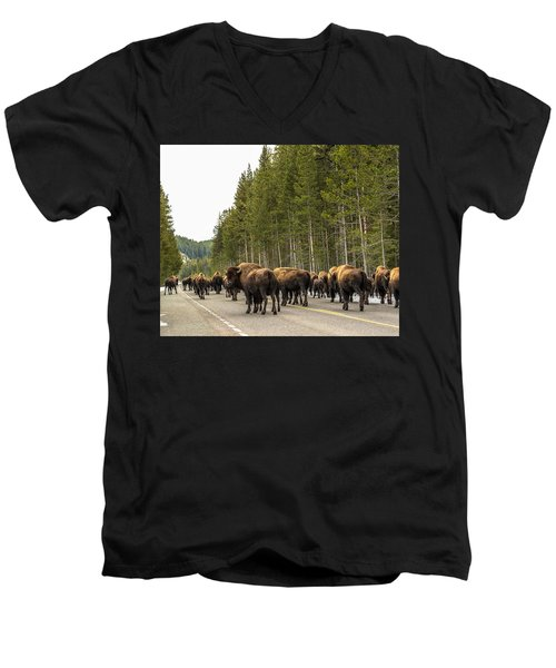 Men's V-Neck T-Shirt featuring the photograph See You In Spring by Yeates Photography