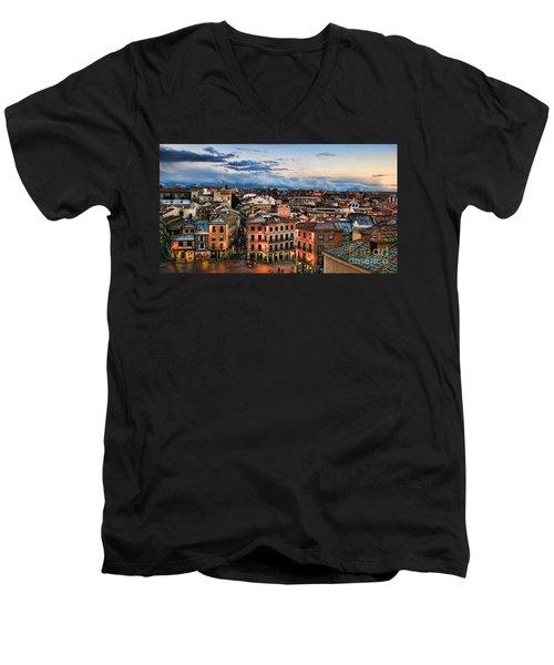 Segovia Nights In Spain By Diana Sainz Men's V-Neck T-Shirt
