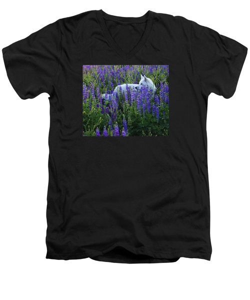 Sekani In Lupine Men's V-Neck T-Shirt by Sean Sarsfield