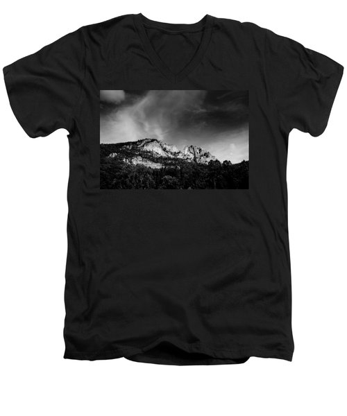 Seneca Rocks Men's V-Neck T-Shirt by Shane Holsclaw