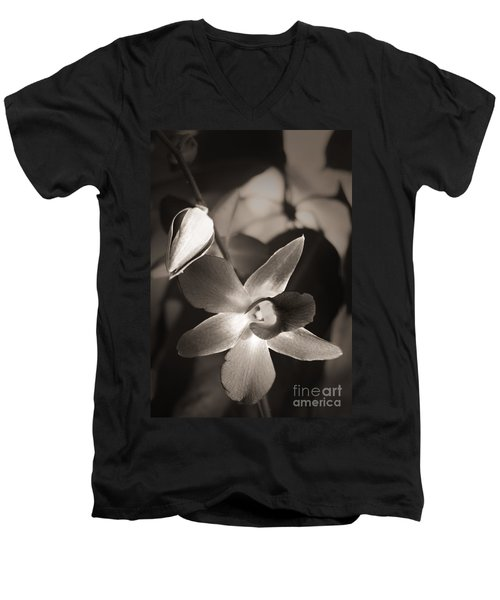 Men's V-Neck T-Shirt featuring the photograph Sepia Orchid by Ellen Cotton
