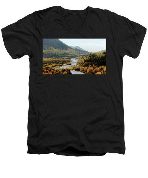 September Morning In Alaska Men's V-Neck T-Shirt by Denyse Duhaime