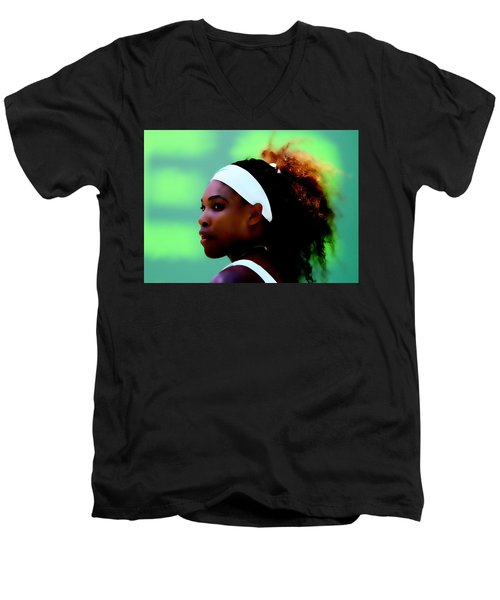 Serena Williams Match Point Men's V-Neck T-Shirt by Brian Reaves