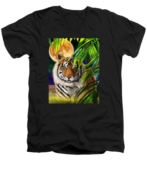 Second In The Big Cat Series - Tiger Men's V-Neck T-Shirt by Thomas J Herring