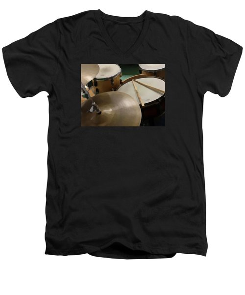 Men's V-Neck T-Shirt featuring the photograph Set by Photographic Arts And Design Studio