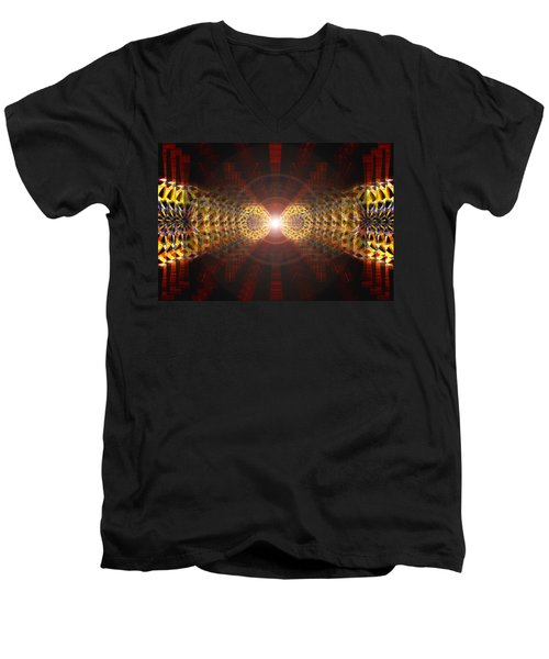Men's V-Neck T-Shirt featuring the drawing Seven Sacred Steps Of Light by Derek Gedney