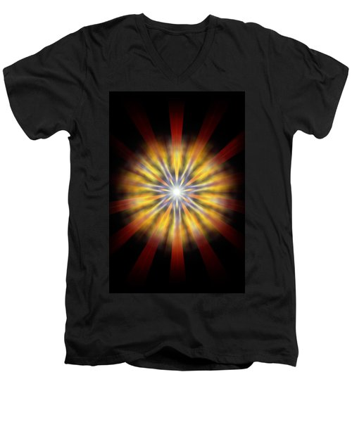 Men's V-Neck T-Shirt featuring the drawing Seven Sistars Of Light by Derek Gedney