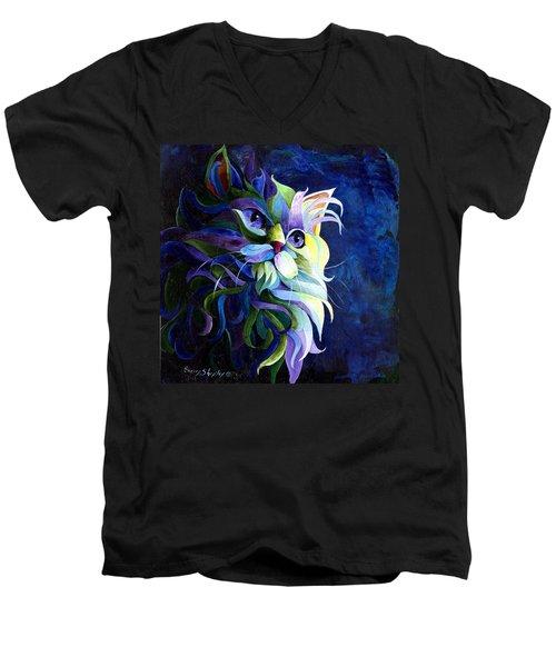 Shadow Puss Men's V-Neck T-Shirt by Sherry Shipley