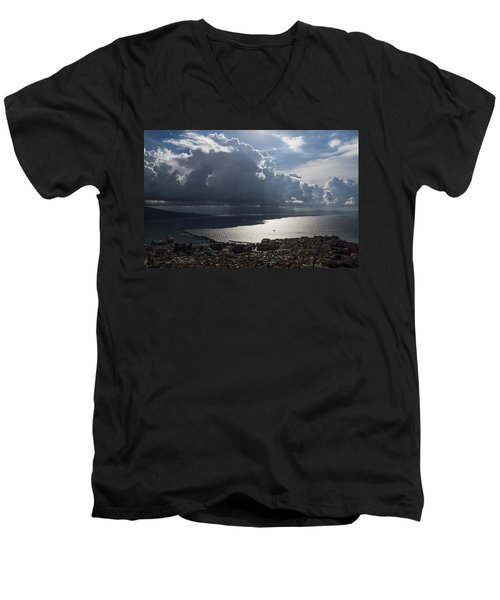 Men's V-Neck T-Shirt featuring the photograph Shadows Of Clouds by Georgia Mizuleva