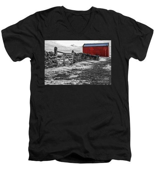 Shakertown Red Barn - Sc Men's V-Neck T-Shirt by Mary Carol Story