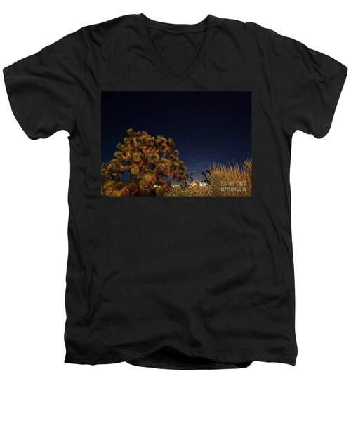 Men's V-Neck T-Shirt featuring the photograph Sharing The Land by Angela J Wright