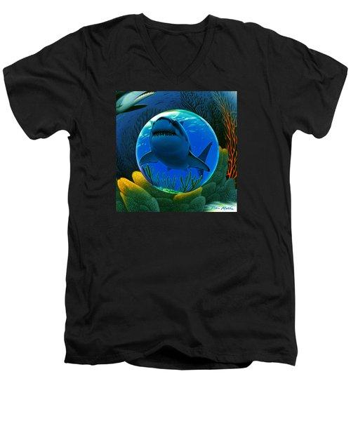 Shark World  Men's V-Neck T-Shirt by Robin Moline