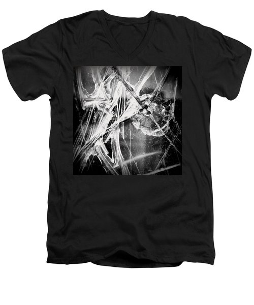 Men's V-Neck T-Shirt featuring the photograph Shatter - Black And White by Joseph Skompski