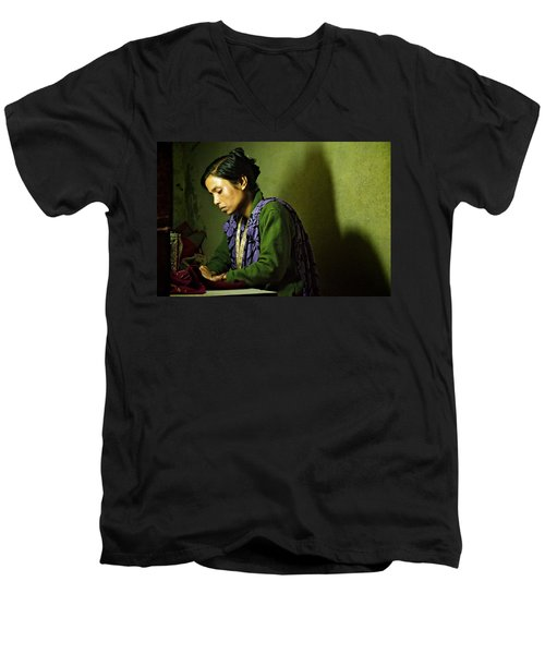 She Sews Into The Night Men's V-Neck T-Shirt by Valerie Rosen
