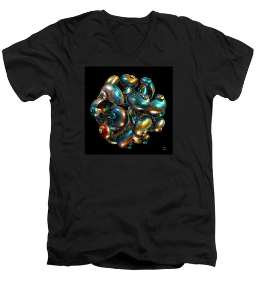 Men's V-Neck T-Shirt featuring the digital art Shell Congregation by Manny Lorenzo