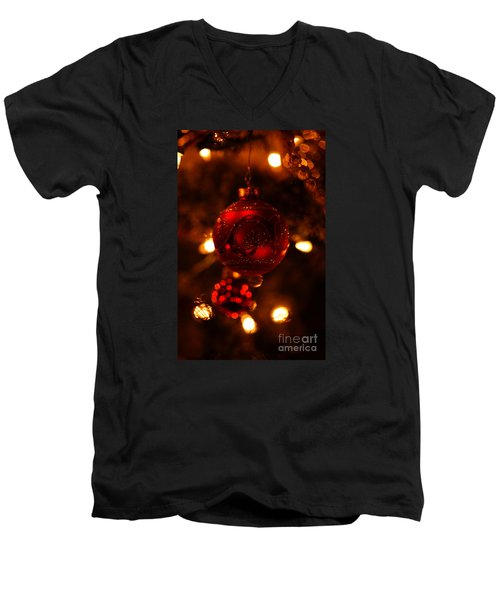Men's V-Neck T-Shirt featuring the photograph Shimmering Reflection by Linda Shafer