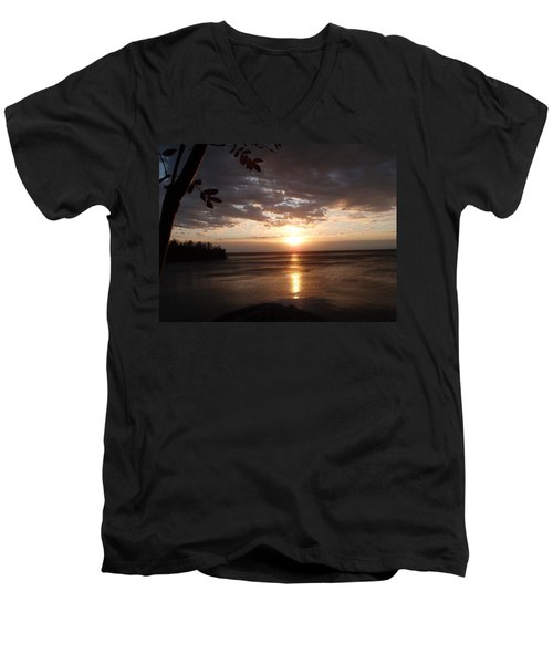 Men's V-Neck T-Shirt featuring the photograph Shimmering Sunrise by James Peterson