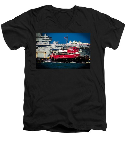 Shipping Lane Hero Men's V-Neck T-Shirt by Bartz Johnson