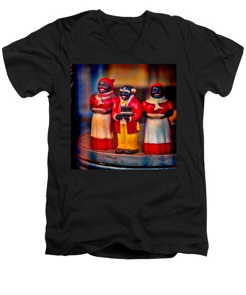 Men's V-Neck T-Shirt featuring the photograph Shop Window Trio by Chris Lord