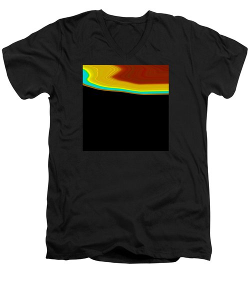 Men's V-Neck T-Shirt featuring the painting Shoreline I  C2014 by Paul Ashby