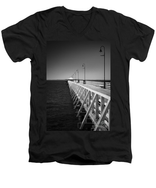 Men's V-Neck T-Shirt featuring the photograph Shorncliffe Pier In Monochrome by Peta Thames