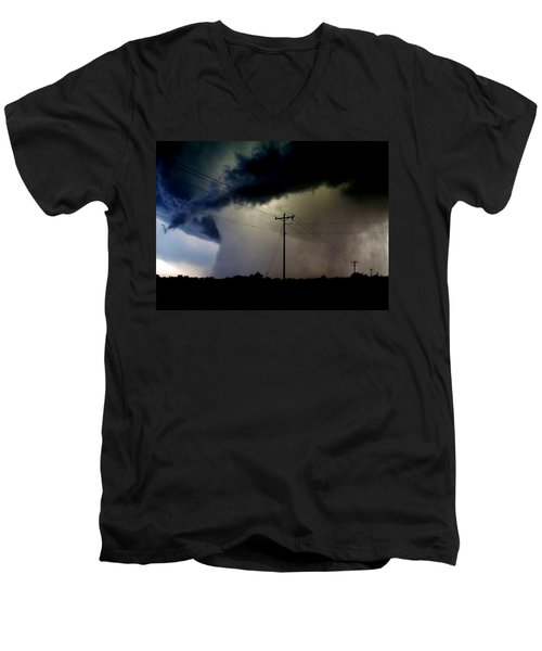 Men's V-Neck T-Shirt featuring the photograph Shrouded Tornado by Ed Sweeney