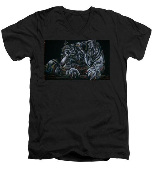 Men's V-Neck T-Shirt featuring the pastel Siberian Tiger by Peter Suhocke