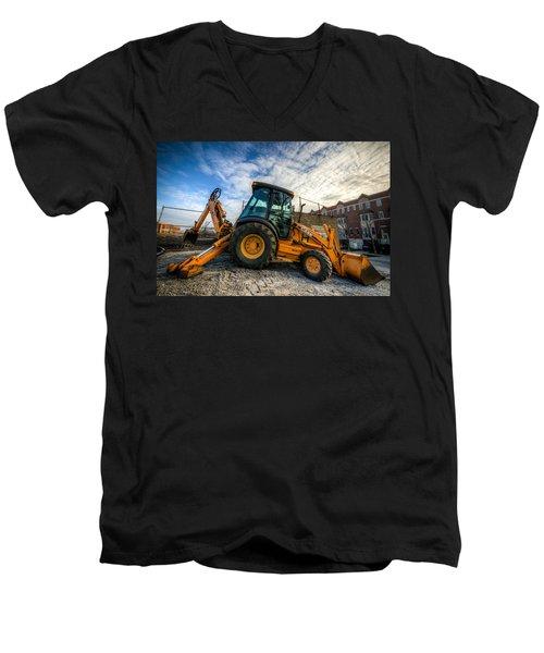 Side View Of A Backhoe At Sunset Men's V-Neck T-Shirt