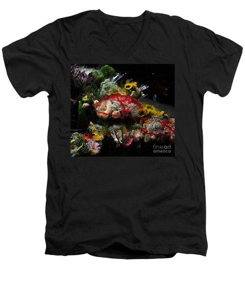 Men's V-Neck T-Shirt featuring the photograph Sidewalk Flower Shop by Lilliana Mendez
