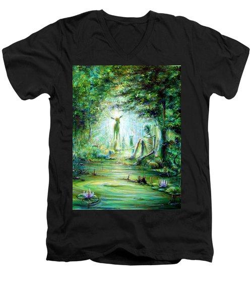 Men's V-Neck T-Shirt featuring the painting Siempre Conmigo by Heather Calderon