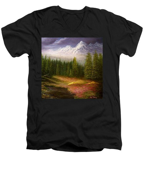 Sierra Spring Storm Men's V-Neck T-Shirt by Loxi Sibley