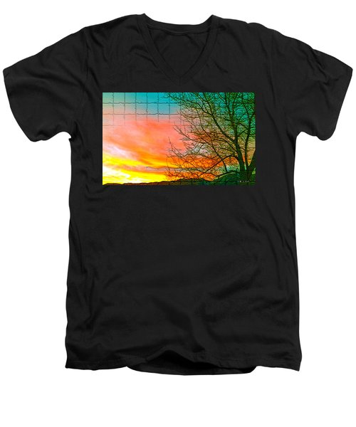 Sierra Sunset Cubed Men's V-Neck T-Shirt