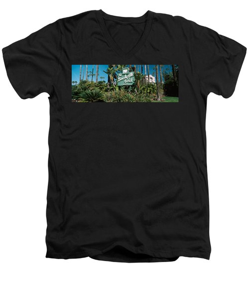 Signboard Of A Hotel, Beverly Hills Men's V-Neck T-Shirt by Panoramic Images