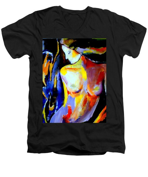 Men's V-Neck T-Shirt featuring the painting Silent Glow by Helena Wierzbicki