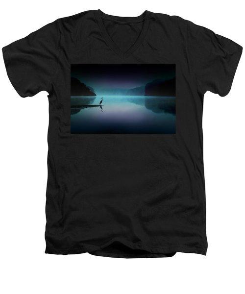 Silent Night Men's V-Neck T-Shirt by Rob Blair