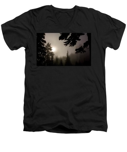 Silhouettes Of Trees On Mt Rainier Men's V-Neck T-Shirt
